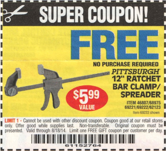 Harbor freight free coupons october 2018